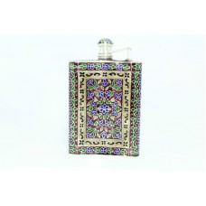Handmade Blue Enamel Meema Cloisonne SILVER, Hip Liquor Whiskey Alcohol Flask