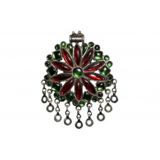 Vintage Antique Tribal Silver Pendant with Green and Red Crystals, Without Chain