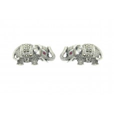 925 Sterling Silver elephant Studs Earring with marcasite Stones