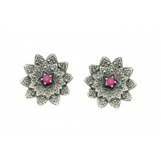 925 Sterling Silver flower Studs Earring with marcasite Stones