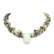 Designer Natural multi color semi precious stone bezel setting necklace pendant