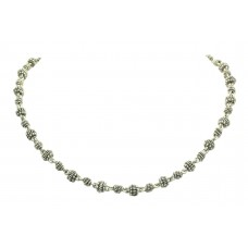 925 Sterling Silver traditional Chain Necklace silver beads 40.7 Gr 18.5 inch