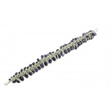 925 Sterling Silver Natural Purple Amethyst Gemstone bezel design Bracelet
