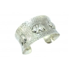 925 Sterling Silver jewellery Cuff Bracelet elephant figures texture design