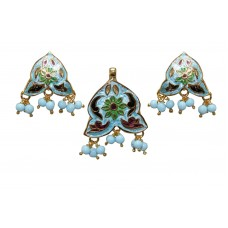 Gold Plated Sterling Silver Enamel Meena Pendant Earring Turquoise Bead Stone