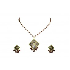 925 Sterling Silver gold rhodium Maroon Enamel chain Pendant Earring set