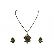 925 Sterling Silver gold rhodium black Enamel chain Pendant Earring set