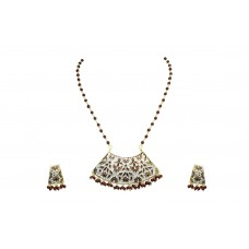 Gold Plated 925 Sterling Silver Enamel big Pendant Earring set Maroon Bead chain