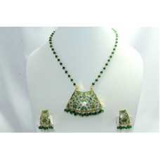 925 Sterling Silver gold rhodium green Enamel Pendant Earring set Bead chain