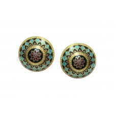 925 Sterling Silver Studs gold rhodium multi colour Enamel Meena Earrings clips.
