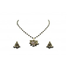 925 Sterling Silver gold rhodium Black Enamel Pendant Earring set Bead chain.