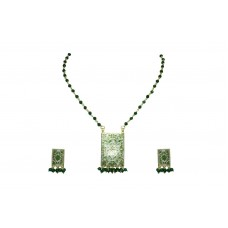 925 Sterling Silver gold rhodhium green Enamel Pendant Earring set Bead chain