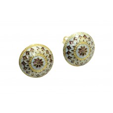 925 Sterling Silver Studs gold rhodium Enamel Meena Earrings with Clips..