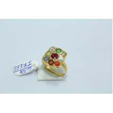18 Kt Yellow Gold Ring, Navratana 9 precious gemstone ring size 8