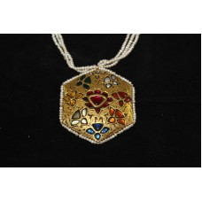 18K Gold Traditional Gemstone Pendant Wax inside,Pearl String, Enamel Back Side