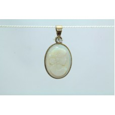 18Kt Yellow Gold Pendant with Mother of Pearl (MOP) Stone Hallmarked