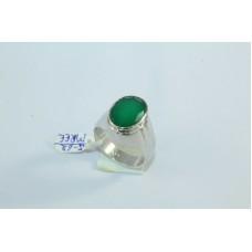 92.5 Hallmarked Sterling Silver Men's Ring,Green Onyx Stone Ring