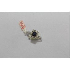 925 Sterling Women's silver ring, Real Blue Sapphire and Diamonds, No. 14