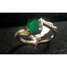 925 Sterling Silver Ring with Natural Real Green Onyx Gemstone, Size No. 15