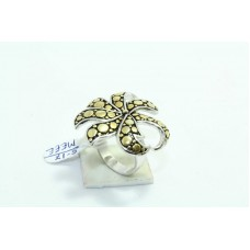 925 Sterling silver women's gold rhodium fashion designer flower theme ring