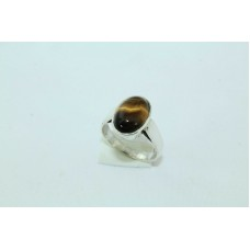 92.5 Hallmarked Sterling Silver Men's Ring, Real Tiger's eye Ring size no.20
