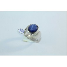 92.5 Hallmarked Sterling Silver Men's Ring,Synthetic Star Sapphire Stone Ring