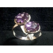 925 Sterling Silver Ring with Natural Real Amethyst Gemstone, Size No. 14