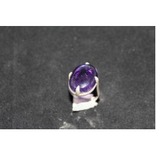 925 Sterling silver Women ring,Real Cabachon Amethyst,Oxidized polish,Size 17