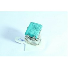 925 Sterling silver Turquoise Stone Ring Size 19 Oxidized Polish
