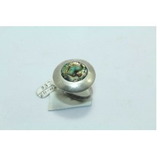 925 Sterling silver Mother of pearl Ring Size 19 Oxidized Polish