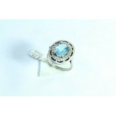 925 Sterling silver Blue Topaz Stone Ring Size 17 Oxidized Polish