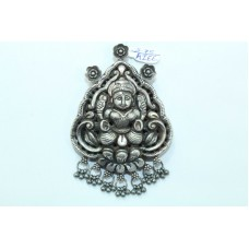 Tribal Temple Jewelry 925 Sterling Silver Goddess Laxmi Pendant with silver bead