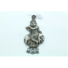 Tribal Temple Jewelry 925 Sterling Silver God Krishna Pendant with silver beads