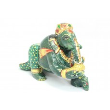 Green Jade natural Stone God Ganesha Idol statue Holding Sweet Standing on Rat