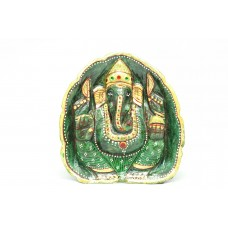 Green Jade natural Stone God Ganesha Idol statue Peacock Bird gold painted