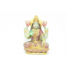 Green natural Jade Stone Goddess Lakshmi Idol statue Home Decorative painted