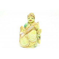 Handmade Green natural serpentine Stone Goddess Saraswati Idol statue Decorative