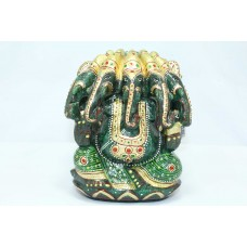 Natural Green Jade Stone Panchamuki God Ganesha Idol Statue Gold painted 2.3 KG