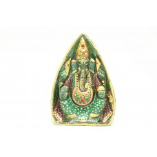Natural Green Jade Stone God Ganesha Idol statue Home Decorative gold Painted
