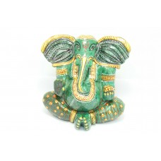 Natural Green Jade Stone God Ganesha Idol Statue Gold painted Decorative