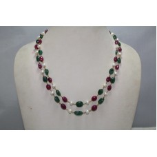 Beautiful 2 Strang Natural Emerald Ruby and Pearl 18 K Gold wire Necklace