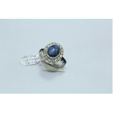 18 Kt White Gold Ring, Real Star Blue Sapphire & Diamonds,  Ring Size 14