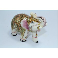 India Natural white Marble Stone Elephant Figure Gold Hand Painted Gift Item
