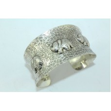 925 Sterling Silver Women's jewellery Cuff Bracelet with elephant figures