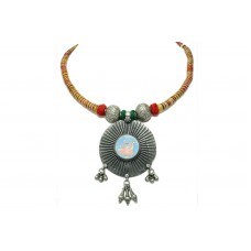 Rajasthan Gems Handmade 925 Sterling Silver painting Necklace Temple Jewelry Shrinath Ji God