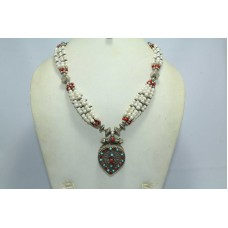 Rajasthan Gems 925 Sterling Silver Necklace with Natural Coral Turquois n pearl Gemstones