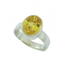 925 Sterling Silver Yellow Cubic Zirconia Zircon Stone Ring Size No. 14