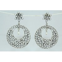 925 sterling Tribal silver earring Hallmarked with uncut Zircon n pearl Stones
