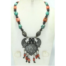 Silver Necklace Antique Tibetan Tribal Jewelry Real Coral and Turquoise Stones
